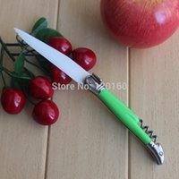 Wholesale 2015 New stainless steel handle Foldable Pocket ceramic fruit knife with wine opener folding ceramic peeler inch