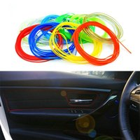 Cheap Newest 5m lot Car Styling Universal DIY Cold Line Flexible Interior Decoration Moulding Trim Strips 10 Colors Accessories