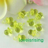 Wholesale Tracking number pack mm mm Clear Citrine Yellow Mini Acrylic Baby Pacifier Baby Shower Favors Cute Charms Party Decorations