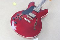 Wholesale Hot Sale left hand F Semi Hollow left handed Deep red wine Jazz Electric Guitar Strings Guitars Have Hard Case