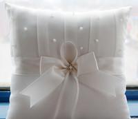 Wholesale 2016 Elegant White Wedding Ring Pillows Subtle Cruystals Prarls Bow Ribbons Wedding Favors Wedding Supplies Custom Made