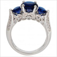 best blue sapphire - Size Blue Sapphire Rings KT White Gold Filled Finger Ring For Women anel de ouro Best Selling RW0789