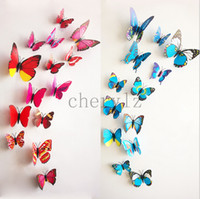 home decal stickers - 12pcs d Butterfly Tatoos Wall Sticker Home Decoration Decals Children Bedroom Decoration BB309