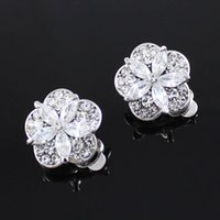 Wholesale neoglory Jewelry clip on earrings star clover flower cubic zirconia full of crystals Rihood Jewelry pairs k gold silver clear