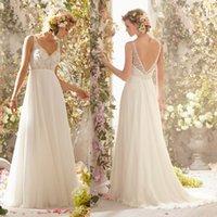 61 - Beatselling Wedding Gowns Charming A line Straps V neck Beading_Crystal Sweep Train Chiffon Boho Wedding Dresses Cheap Bridal Gown H