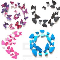 bedroom refrigerators - 10set Simulation of D Butterfly wall stickers home accessories colored paper butterflies wall stickers TV background