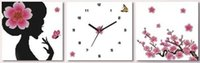 baby room clock - FBH030607 Precise printing cross stitch package mail new sitting room warm baby sweetheart wall clock drunk cool breeze triptych