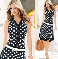 Wholesale 2015 New Women Fashion Dresses Sleeveless Lapel Neck Party Dress Polka Dots Design With Belt Club Dresses Summer Black White A Line Dresses