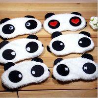 Wholesale Comfortable soft velvet shading sleep mask Korean Cute Panda eye shields cartoon eyeshade