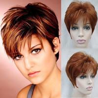 auburn hair cuts - Sexy Reddish Brown Wig Pixie Cut Short Layered Hair Wig Female Heat Resistant Synthetic African American Lambskin Short Wig