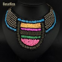 Wholesale Indian National Style Shape Sequin Multicolor Resin Beads Surface Hand Made Women Collar Accessories Statement Necklaces