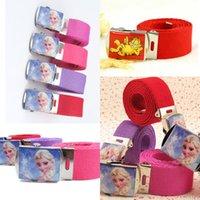 Wholesale Kids Boys Girls Canvas Belt Fashion Children Buckles Baby Candy Color Elastic Waist Belt