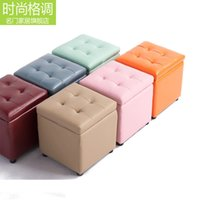Wholesale High quality leather wood square stool storage stool changing his shoes selling children s shoe factory direct