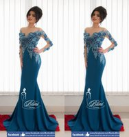 Cheap 3D-Floral Appliques Mermaid Arabic Dresses Sheer Neck Crystals Long Sleeves Satin Evening Dresses Sexy Lace Navy Evening Gowns