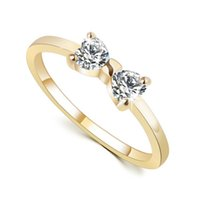 best metal engagement rings - Best Deal New Fashion Women Luxury Metal Zircon Bowknot Wedding Engagement Ring Gold Size Perfect Gift PC