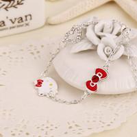 bangle cats - handmade jewelry cute Hello Kitty link bracelets Sterling Silver Jewelry Cat Fine Jewelry children bangles