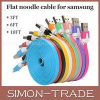 Wholesale Micro USB Sync Data Flat Noodle Cable Cord Charger Charging Line For Samsung Galaxy S5 S6 Note5 for Iphone S