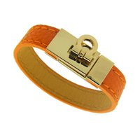 america leather bangle - H leather bracelets bangles for women men Europe America new luxury fashion hot selling wristband jewelry black orange colors Rotary buckle