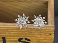 Wholesale 2015 New Silver Jewelry White Silver Copper Plated AAA Zircon Stud Earrings Frozen Snowflake Earrings Women Gifts OJ