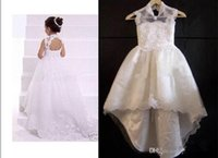 Cheap Charming 2015 New A line Lace Girl's Flower Dresses Backless High Neck Sweep Train Baby Formal Occasion First Communion Skirt LYJ3010