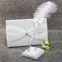 feather pen - Newest Gorgeous Wedding Guest Book and Pen Set with Elegant Satin Bowknot Soft Feather Decorate Pen Romantic Wedding Supplies H15887