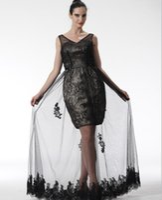 Wholesale 2016 Spring Summer A Line V Neck Floor length Applique Lace Tull Dress