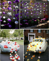 environmental paper - 2015 Romantic Wedding Decorations Vibrant Paper Flower Balls Colorful Environmental Healthy Ballon Lantern Wedding Supplies In Stock