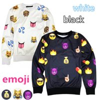 Wholesale 2014 Women s emoji Sweatshirt d Printed emoji Hoodies sport clothes Casual men jogging pants Couples sweaters Tops