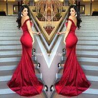 Wholesale Sexy Red Mermaid Off Shoulder Sweetheart Neckline Evening Dresses Satin Backless Stunning Prom Gowns WL358
