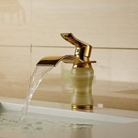 Wholesale Newly Art Jade Body Bathroom Basin Faucet Brass Mixer Tap Golden Waterfall Faucets Hot and cold water J K