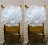american classical furniture - 2015 Chair Sash for Weddings with Big Organza D Flowers Wedding Decorations Chair Covers Chair Sashes Wedding Accessories