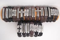 Wholesale Retro mixed styles Handmade Genuine Leather Bracelets with Braided Hemp Rope Brand New Z