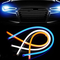 audi led strip - 5sets cm Hot Sale cm Flexible LED DRL Running Headlight Strip Car Turn Signal Light Decoration Lamp White Amber Switchback DC12V