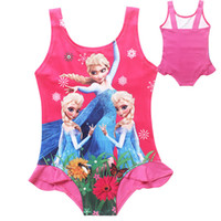 Wholesale Factory price baby girls one piece swimwear frozen elsa suspender swim suit children bath suit kids beach wear girls flower swimsuit
