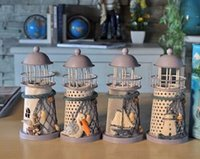 metal candle stand - New Arrive Mediterranean style lighthouse wrought iron Candlestick Candle holder Home decoration