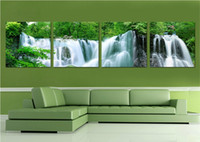 More Panel art watercolor paper - 4 Piece Canvas Art Wall Decor Painting Craft Waterfall Landscape Decoration Paintings Without Photo Frame For Home Living Hanging Decor