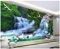 Wholesale Custom photo wallpaper Large D sofa TV background wallpaper mural wall Falls Scenic d mural wallpaper