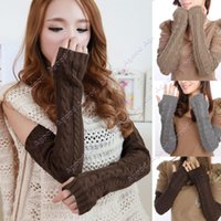 Wholesale Women s Long Gloves Arm Warmers Hand Knitted Half Warmer Glove For Women SV011391