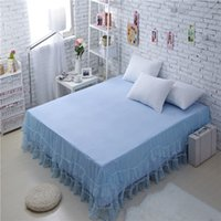 Wholesale Factory Direct Sale New Bedspreads High Quality Pure Blue Bud Silk Bed Skirt Cotton Bedclothes Full Queen Size Fitted Sheet Bedding Set