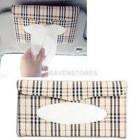 Wholesale Plaid Paper Towel Napkin Holder Box Tissue Case Cover for Car Sun Visor hv3n