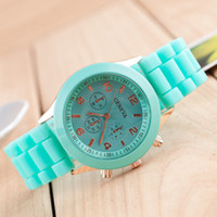 Wholesale Hot Sale Casual Watch Geneva Unisex Quartz watch color Analog wristwatches Sports Watches Rose Gold Silicone watches Dropship