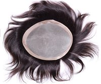 thin skin wig - Cheap Price Top Quality black color brazilian virgin hair thin skin injected human hair replacement men toupee quot x9 quot size