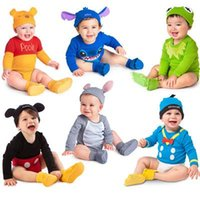 Wholesale Baby Novelty Clothes Infant Coverall Baby Rompers Children Pajamas Animal Modelling Rompers Caps Cotton LR15