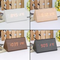 bamboo led alarm clock - Modern sensor Wood Clock Dual led display Bamboo Clock digital alarm clock Led Clock Show Time Voice Control