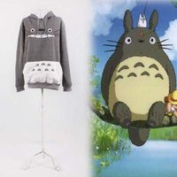 Wholesale Japan Anime My Neighbor Totoro Clothing Hooded Sweatshirt Cosplay Hoodie Gray Fleece Cotton Asian Size S M L XL XXL
