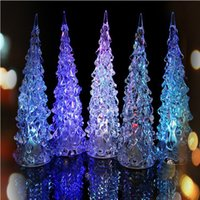 baby figurines wholesale - New Year Christmas Mini Crystal Color Changing LED Tree Decoration Night Light Lamp Gift for Baby prices