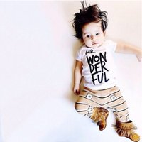Wholesale Summer Boys Clothing Baby Clothes Unique Short Sleeve Boy Clothes Brand New Letter Printed Baby Boys Outfits Sets Kids Clothing Sets