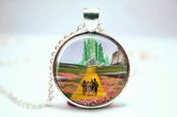 Wholesale 10pcs Wizard of Oz Necklace Emerald City Necklace Glass Photo Cabochon Necklace