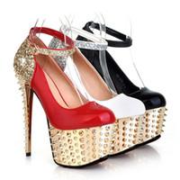 achat en gros de or chaussures de mariage pouces-2015 Bling Bling chaussures de mariage pas cher PU pompes chaussures or strass cuir 6.5 pouces haut talons noirs blancs chaussures de mariée Livraison gratuite X-1