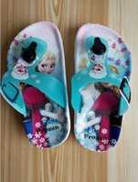 beach shoes children - Baby cartoon Froze flip flops Anna Elsa Sandals Children Cartoon Slippers Kids Summer Beach shoes Slippers for girls PAIR